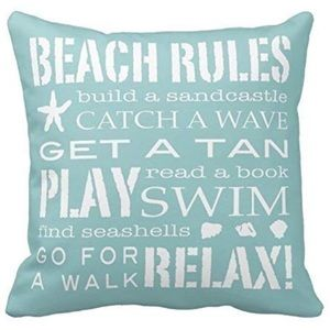Pillow Case Cover Beach Rules